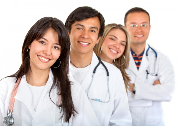 Young medical students smiling